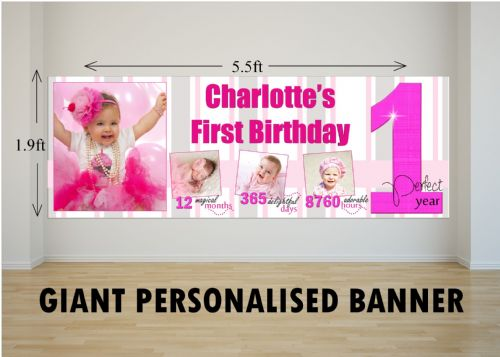 Personalised GIANT Large Girls 1st First Happy Birthday PHOTO Poster Banner N61 One Perfect Year